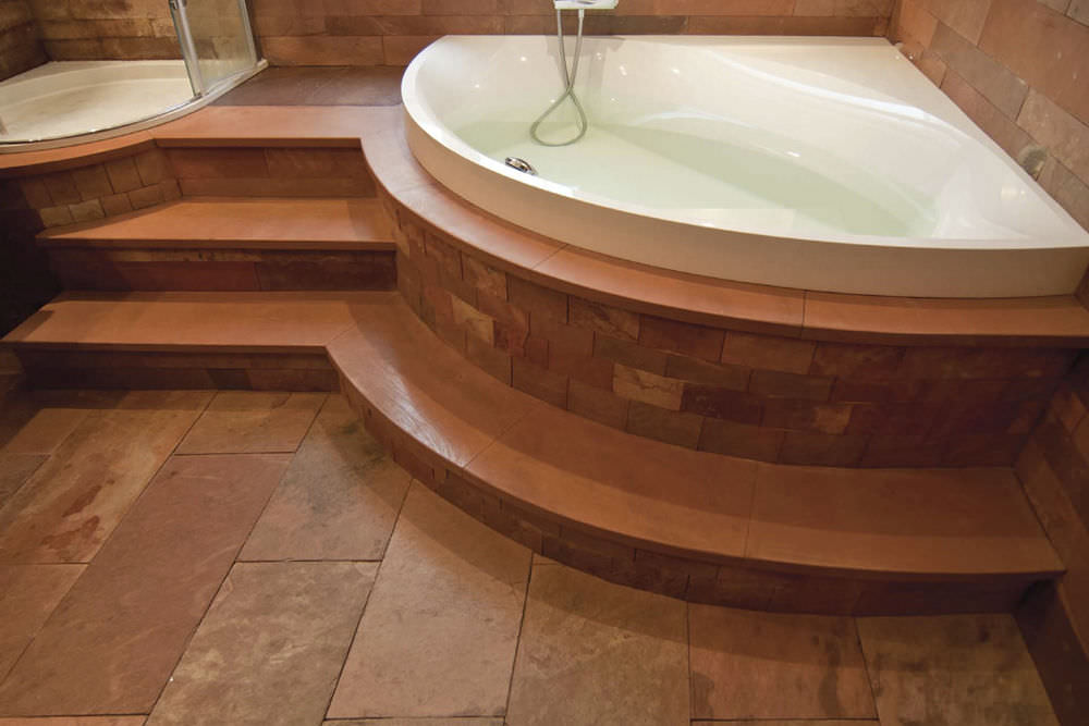Indoor tile / bathroom / floor / natural stone - FLOOR : TERRA ROSA ...