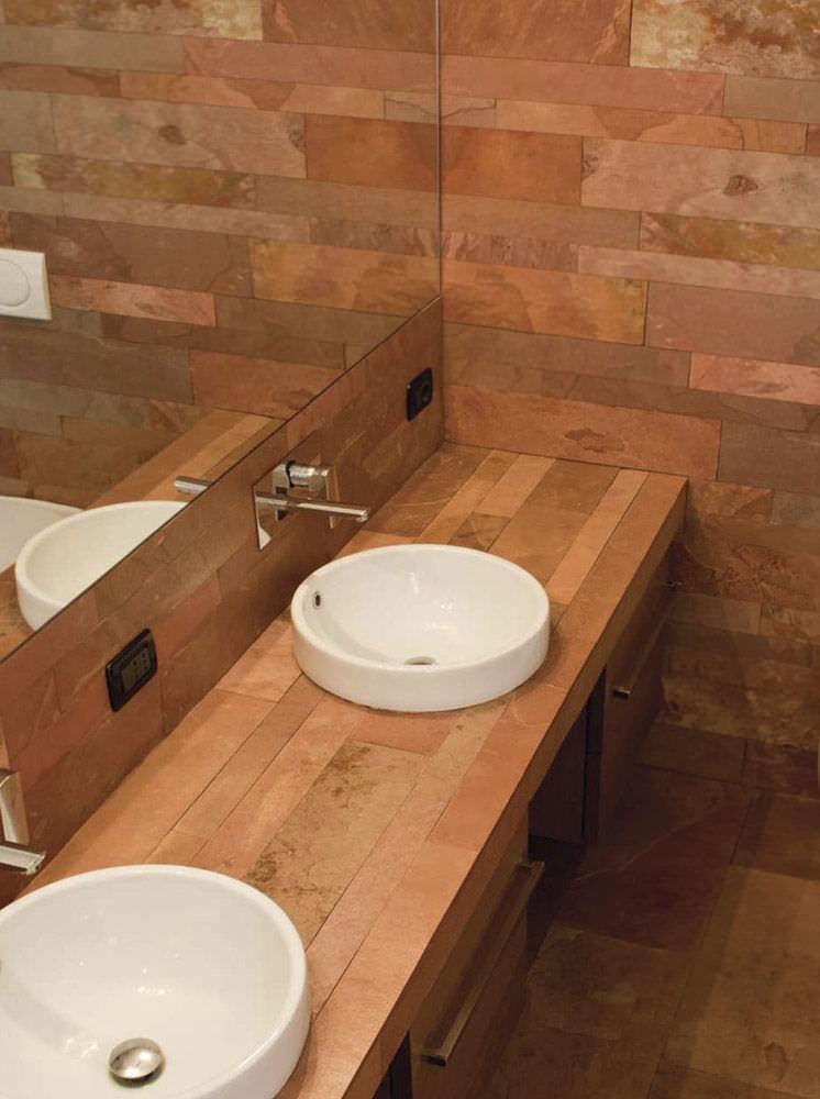Indoor tile / bathroom / floor / natural stone - FLOOR : TERRA ROSA ...