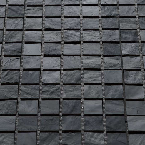 Indoor Mosaic Tile Floor Slate Textured Mignon African Black