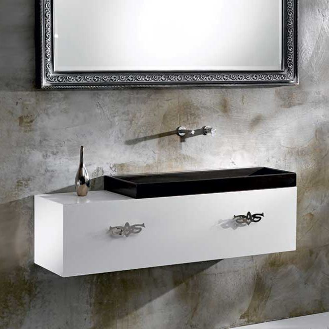 Wall Hung Washbasin Cabinet Wooden Contemporary Lacquered M35