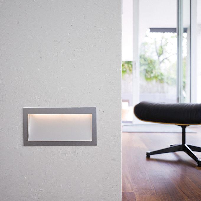 Recessed Wall Light Fixture / LED / Rectangular / Anodized Aluminum ...