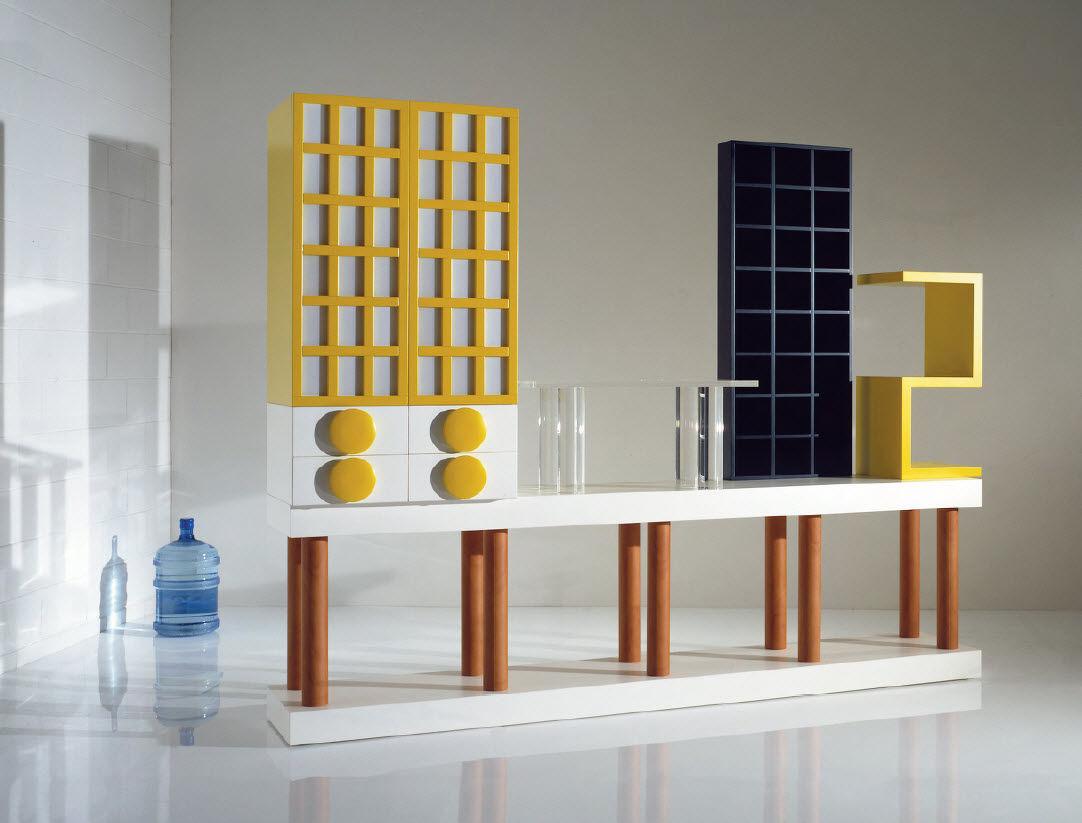 High Sideboard / Original Design / Wooden   By Ettore Sottsass