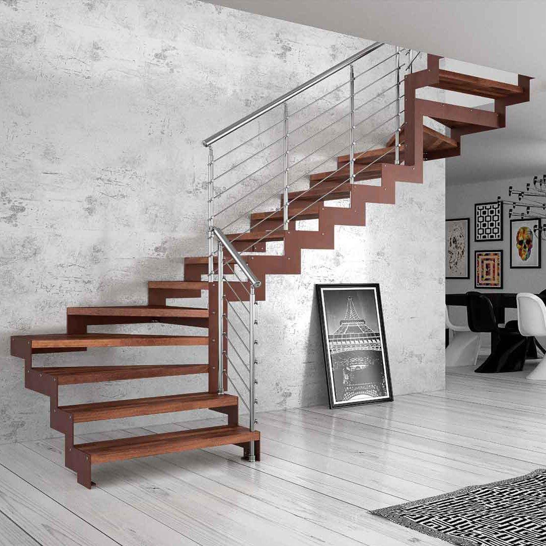 Straight staircase / quarter-turn / wooden steps / metal frame ...