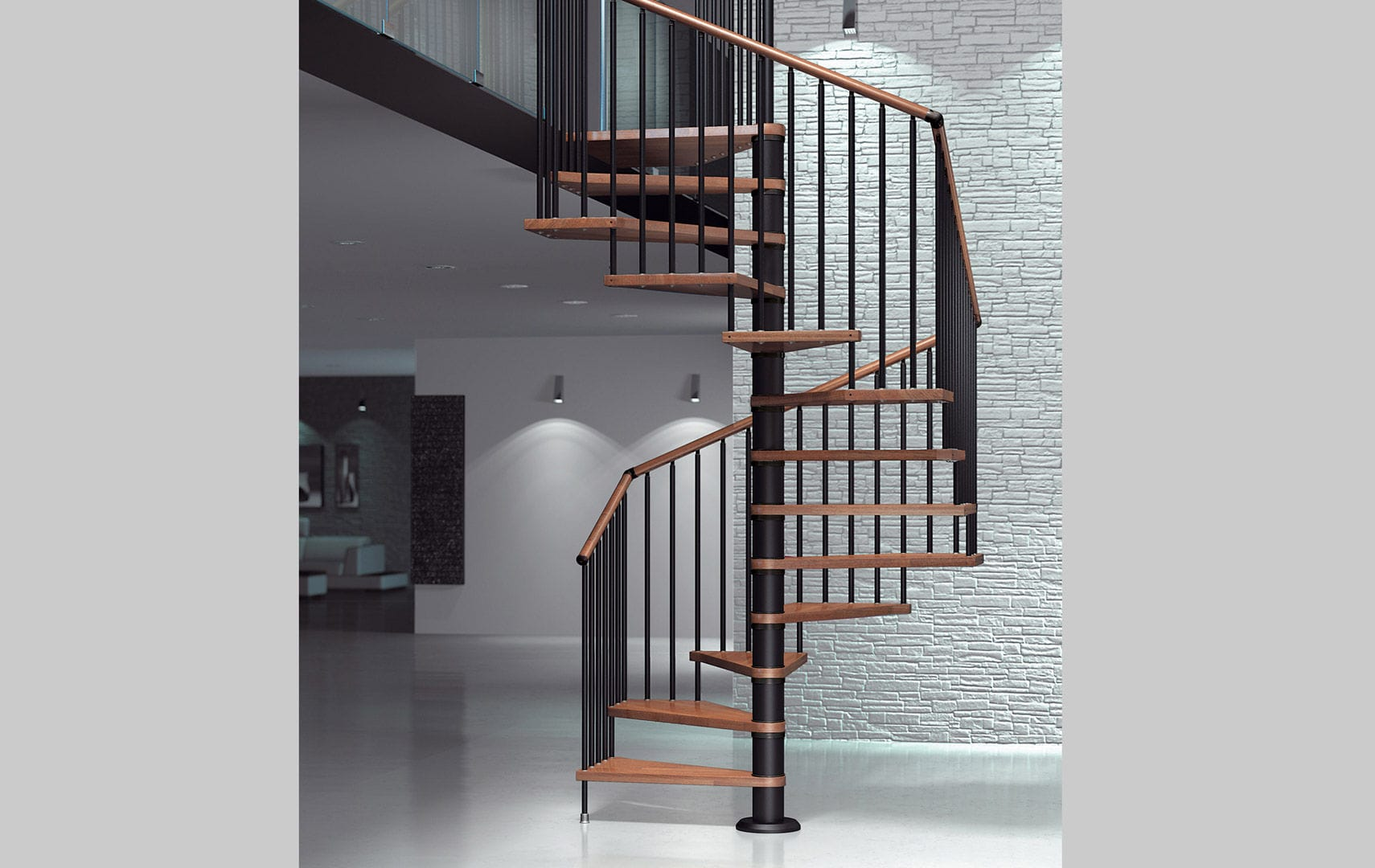 ... Spiral staircase / wooden steps / metal frame / without risers FOX  Mobirolo