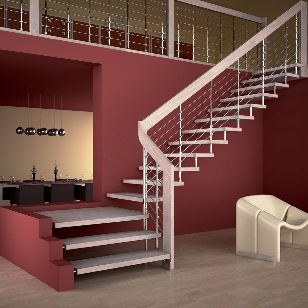 quarter turn staircase metal frame wooden steps without risers rh archiexpo com