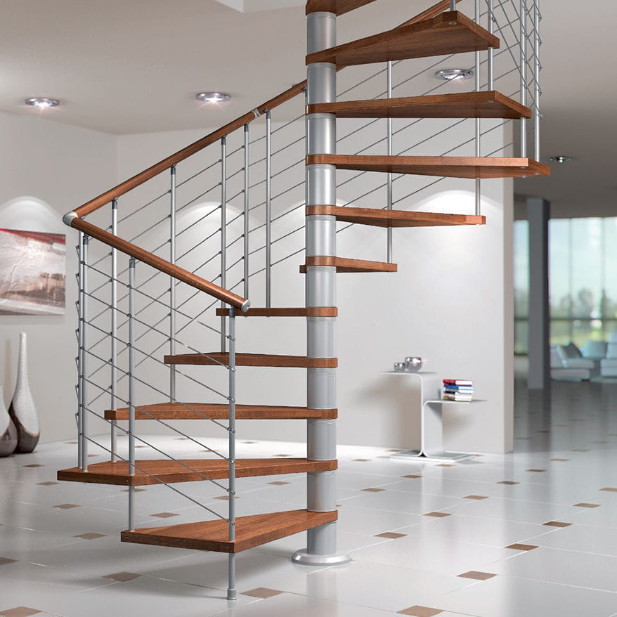 Delightful Square Spiral Staircase / Wooden Steps / Metal Frame / Without Risers    SILVER