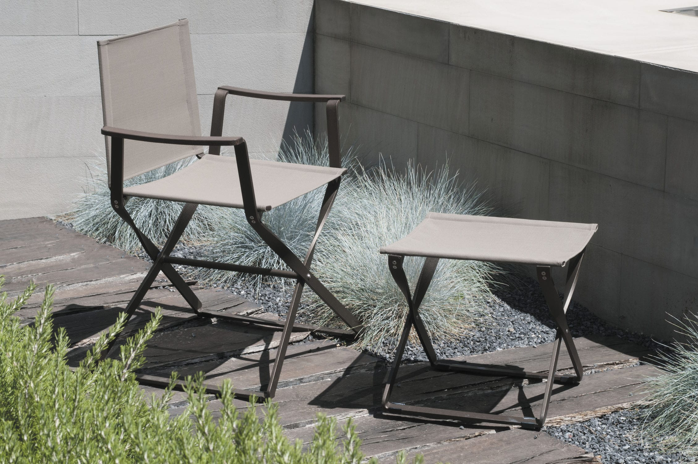 Contemporary footrest fabric aluminum garden CIAK by
