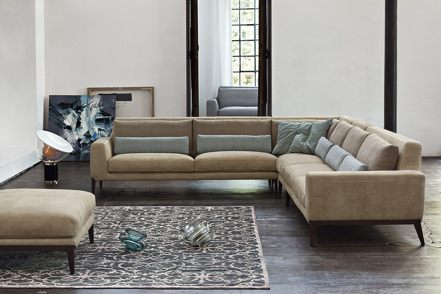 Corner sofa / modular / contemporary / leather - MILLER by ...