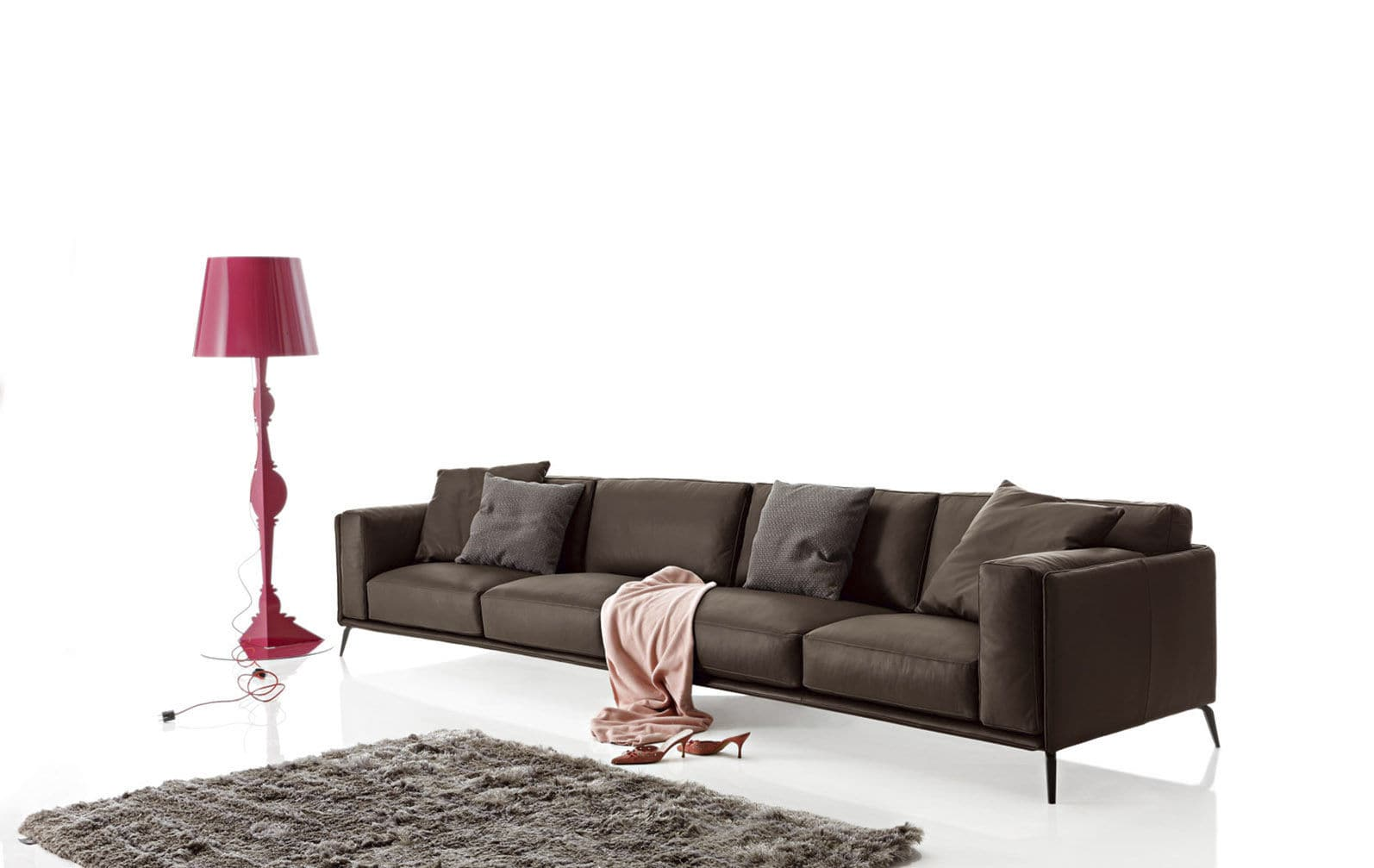Contemporary Sofa Leather Synthetic Cast Aluminum Kris Low By Spessotto Agnoletto