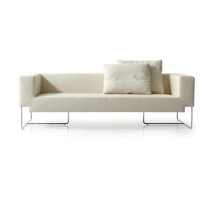 Contemporary Sofa Fabric 3 Seater White Nosso By Lacubitera