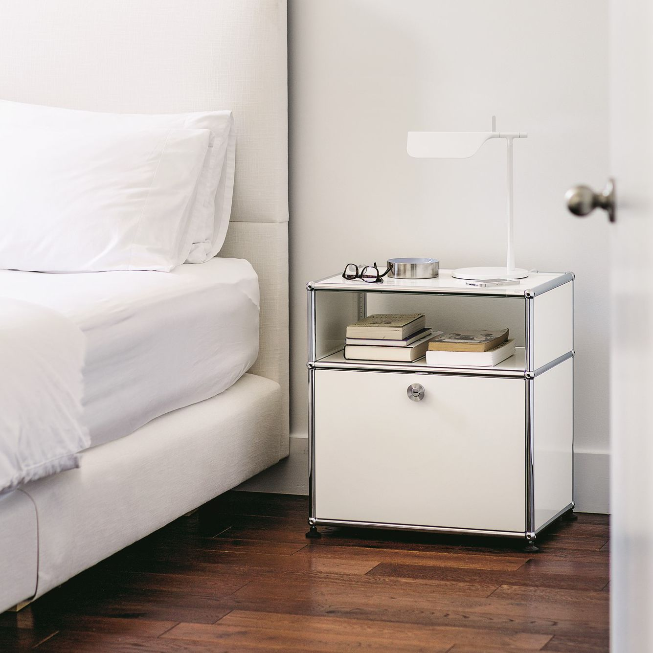 Contemporary bedside table metal rectangular with storage compartment
