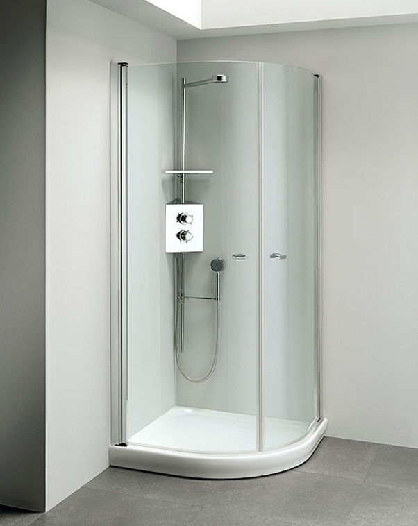 stainless steel shower cubicle curved with hinged door luna inox leakfree