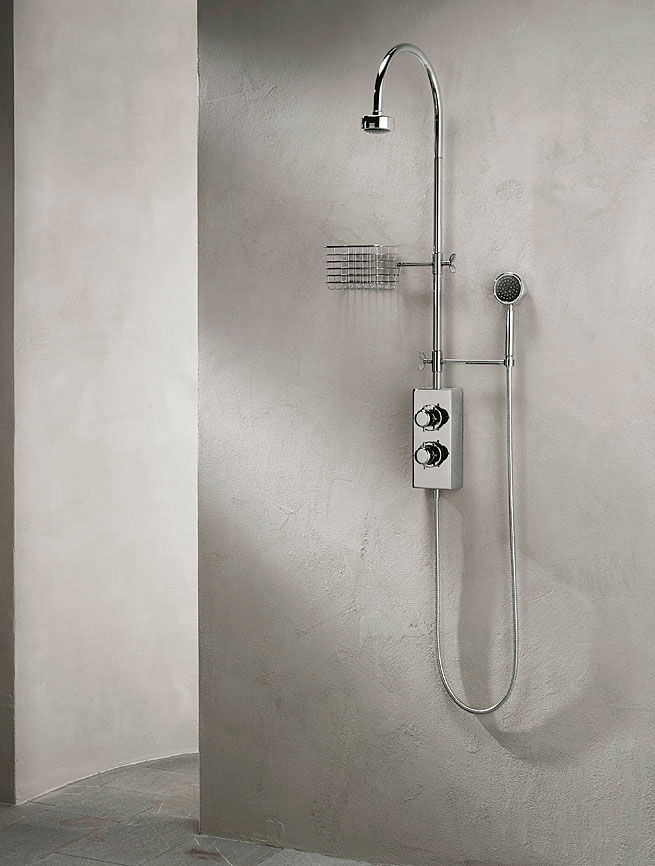 Wall-mounted shower set / contemporary / with fixed-column shower ...