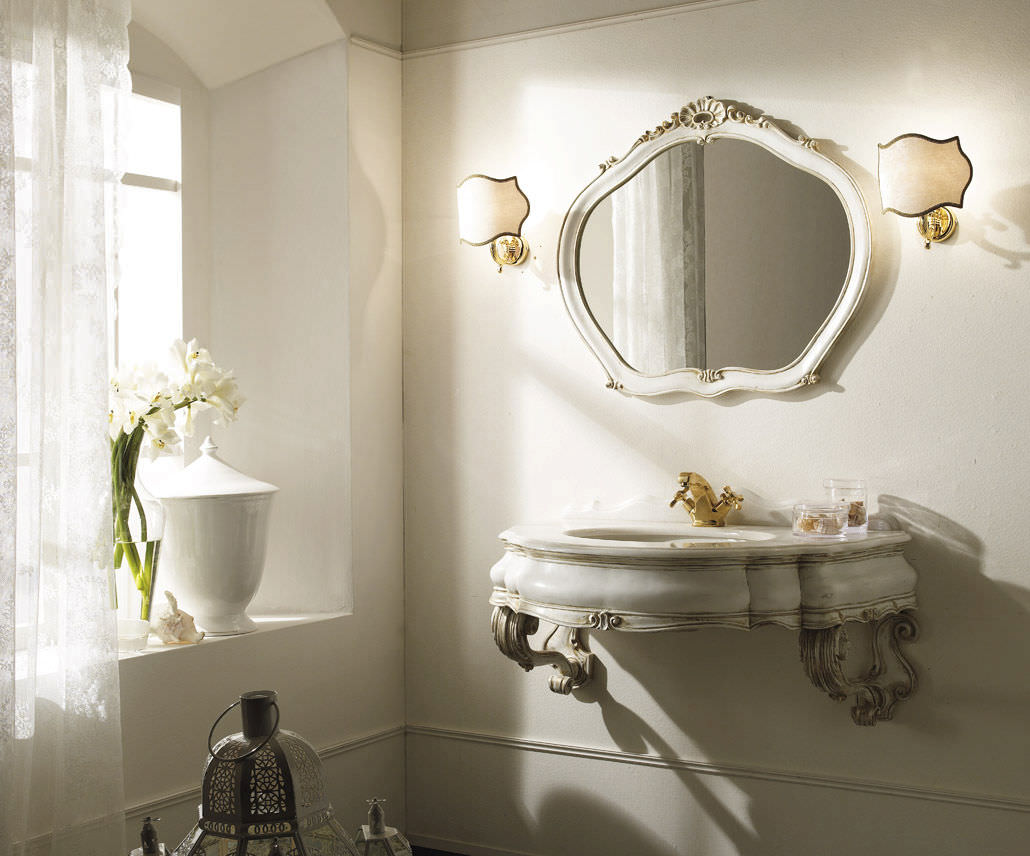 Wooden washbasin cabinet / classic / with mirror - KITHNOS ...