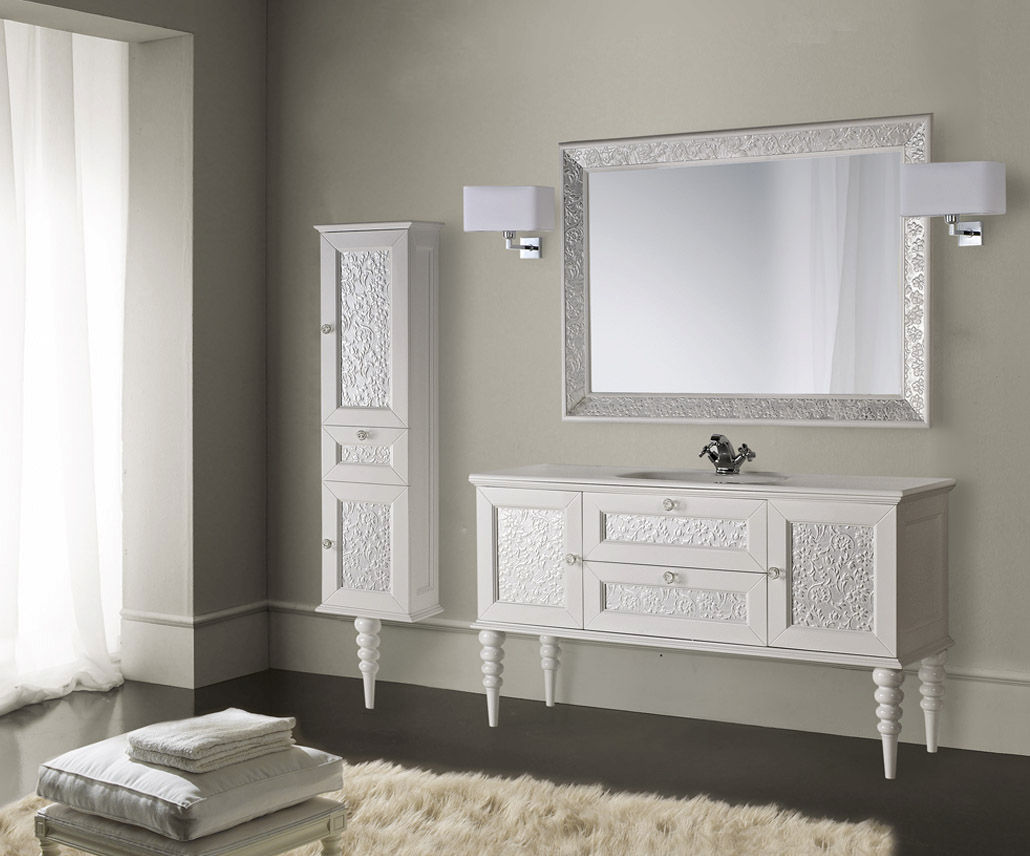 Wall-hung washbasin cabinet / wooden / traditional / kit - EROS ...