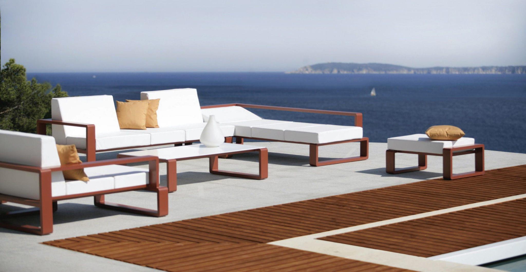 Contemporary coffee table metal Corian rectangular KAMA
