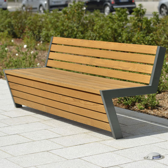 Public Bench Contemporary Wooden Metal Montgenevre Area