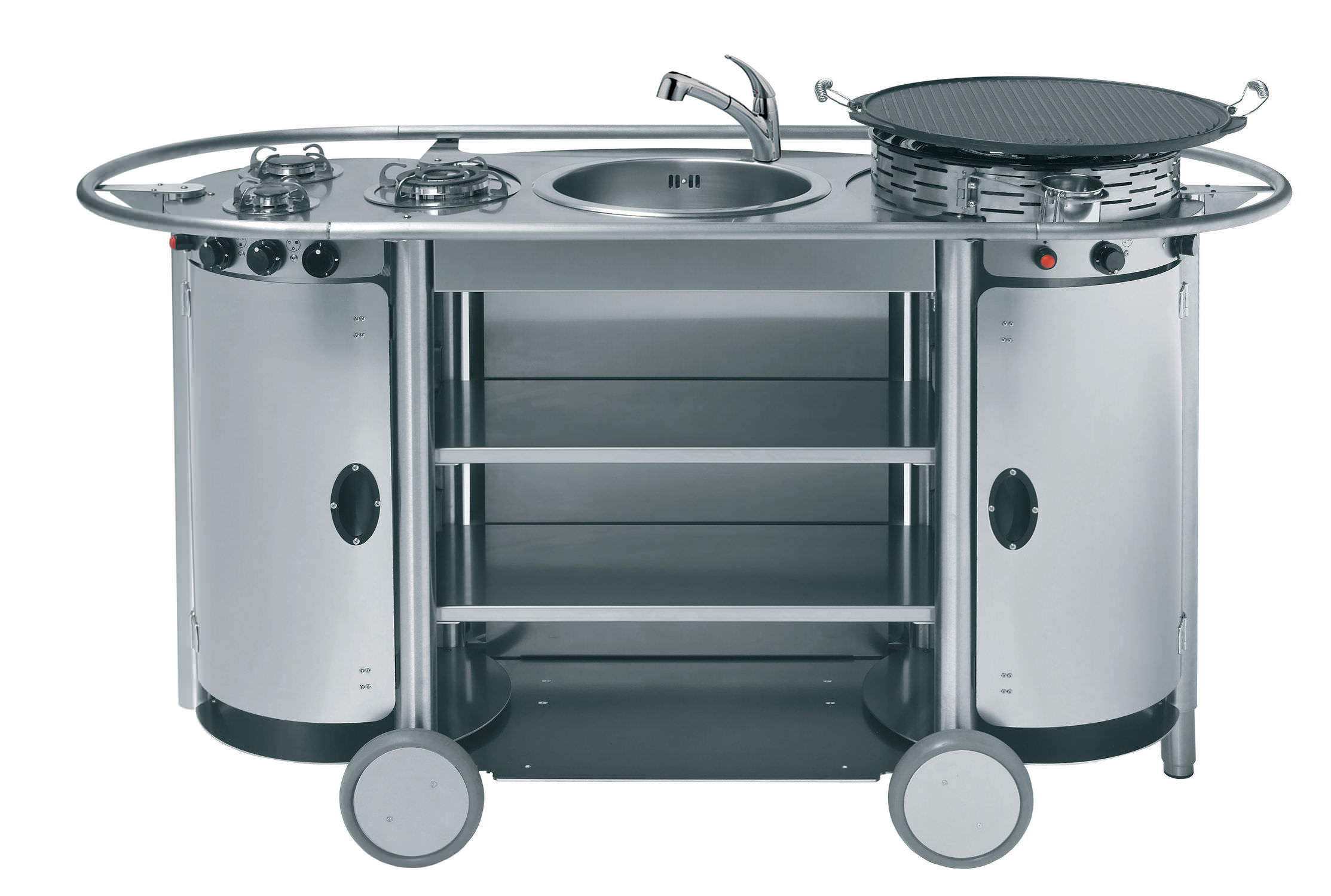 Stainless steel kitchen / mobile / outdoor / with handles - BONGOS ...
