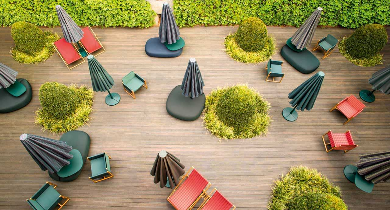 Contemporary pouf fabric garden CLIQUE by Francesco Rota