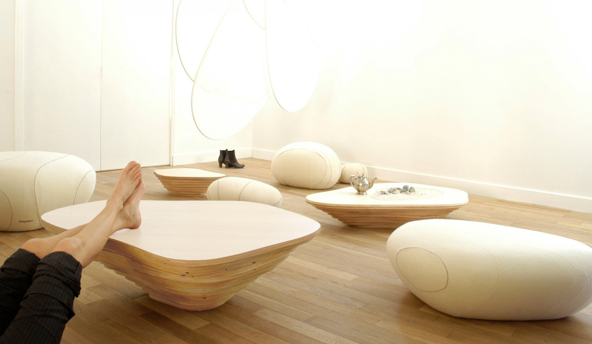 Organic design coffee table wooden mercial modular