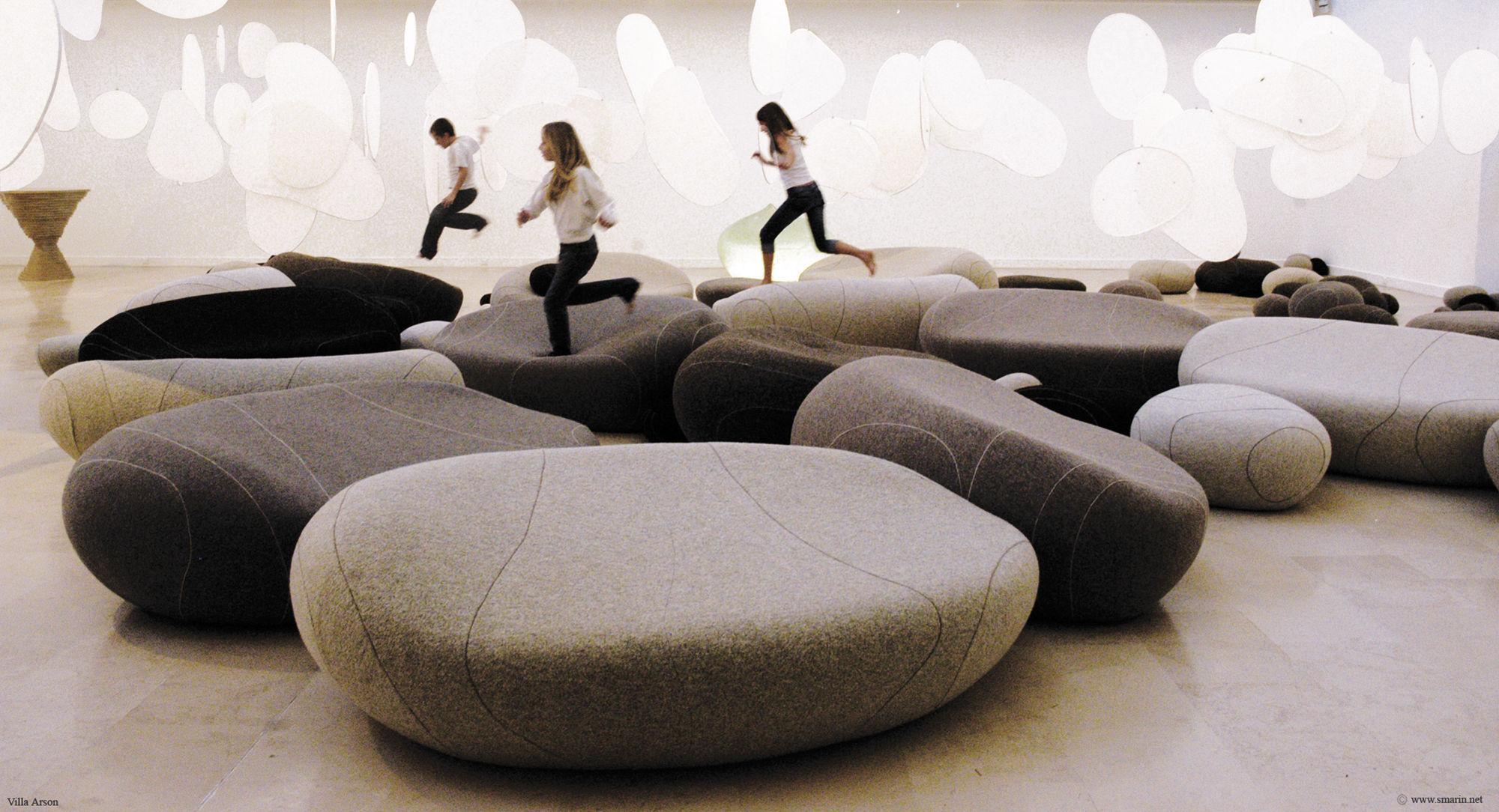 Original design pouf / foam / wool / round - LIVINGSTONES by ...