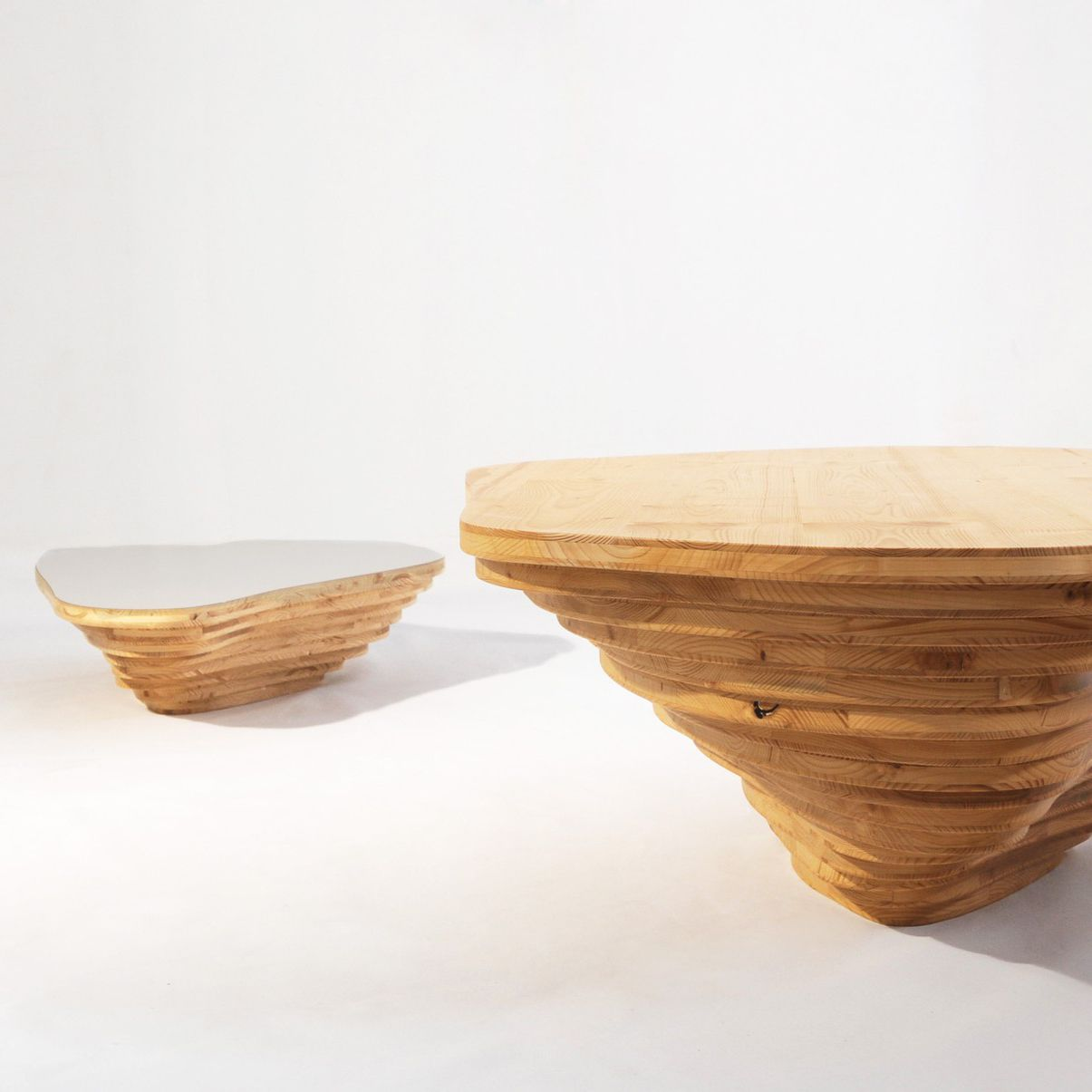 Organic Design Coffee Table Wooden Commercial Modular Livingisland By Stéphanie Marin