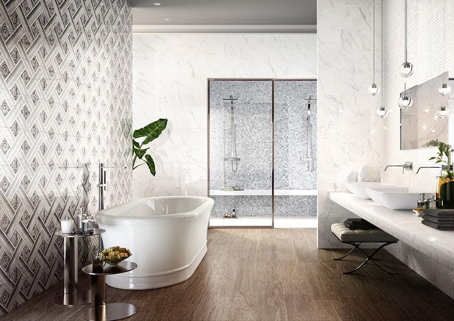 Bathroom tile / wall / porcelain stoneware / geometric pattern ...