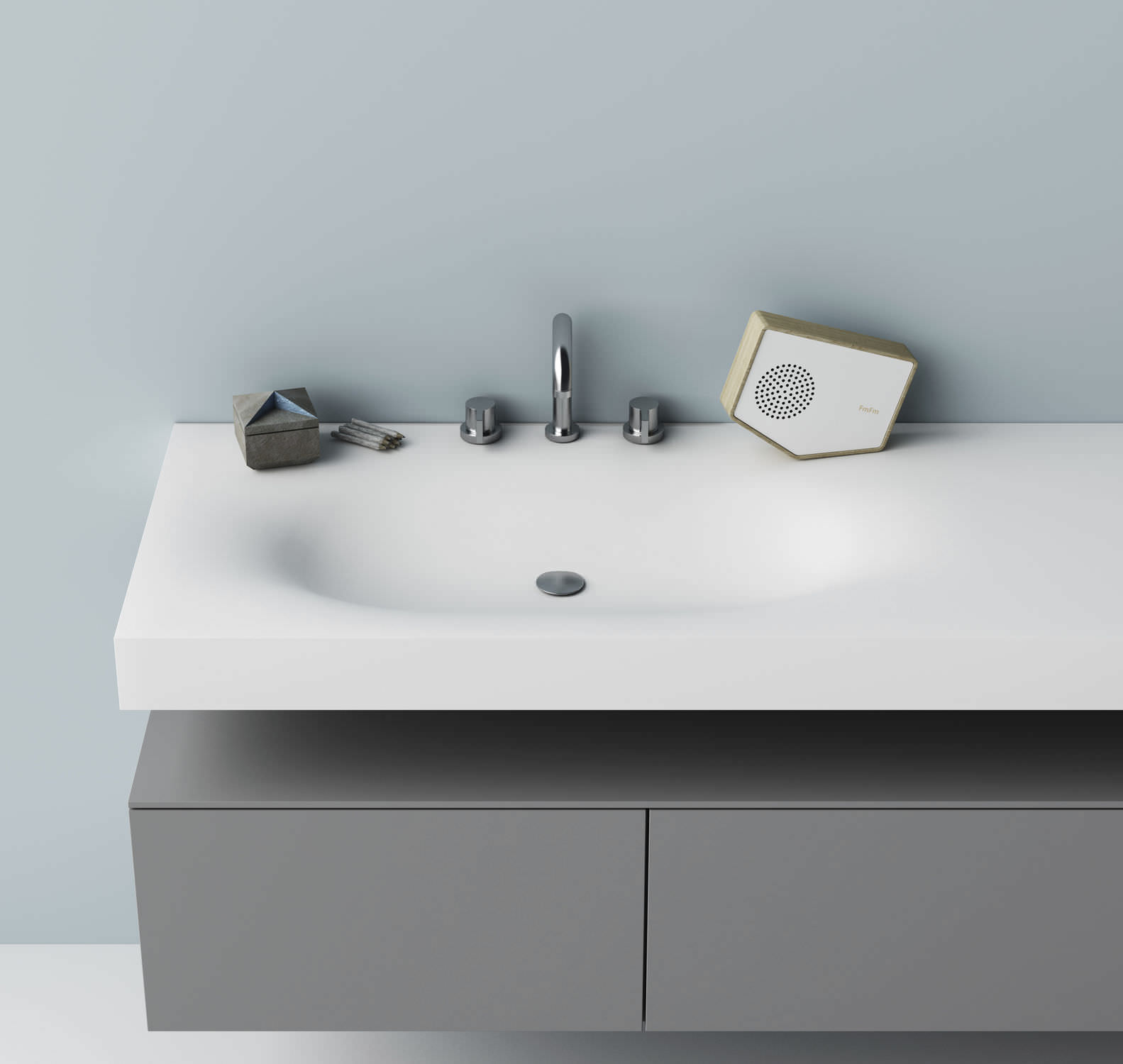 Wall Mounted Washbasin Rectangular Corian Contemporary Moby