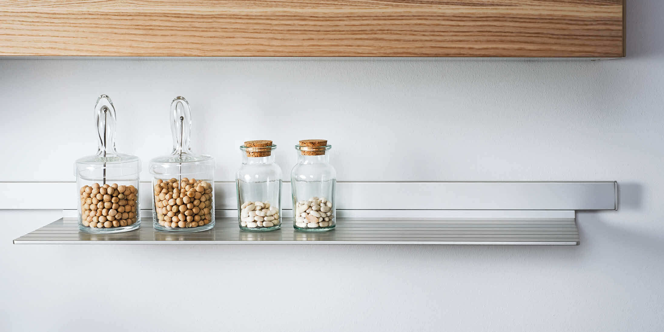 Kitchen Wall Storage Wall Mounted Shelf Contemporary Aluminum Glass Screw On