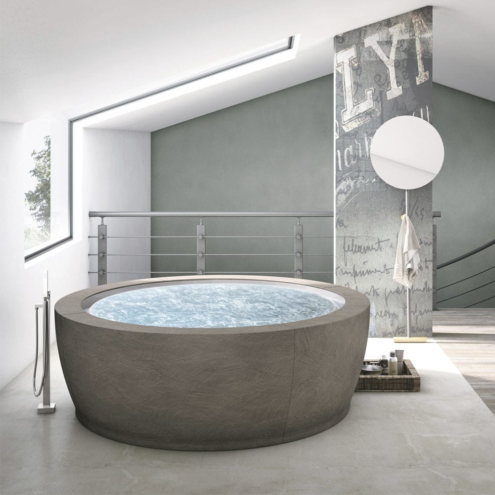 Free Standing Bathtub Round Composite Double Bolla Infinity Jet Shower Onda Chrome By Franco Bertoli Davide Danielli