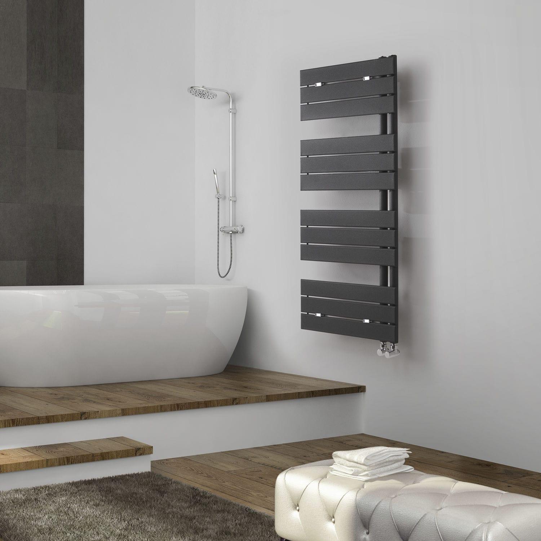 Hot water towel radiator / steel / stainless steel / chrome - FLAG