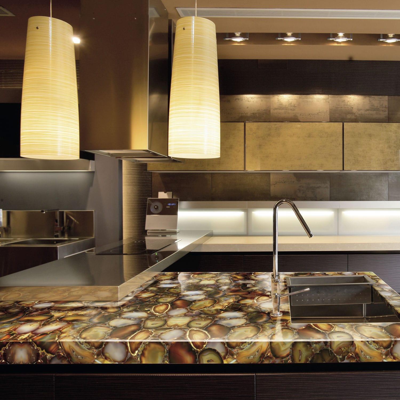 Beau Solid Surface Countertop / Petrified Wood / Semiprecious Stone / Kitchen    CARNELIAN