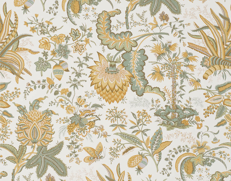 Upholstery Fabric Floral Pattern Cotton Hand Printed Marquis