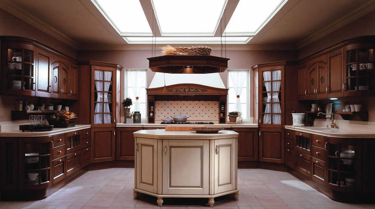 Traditional kitchen / wood veneer / wooden / island - ANTICO CASALE ...