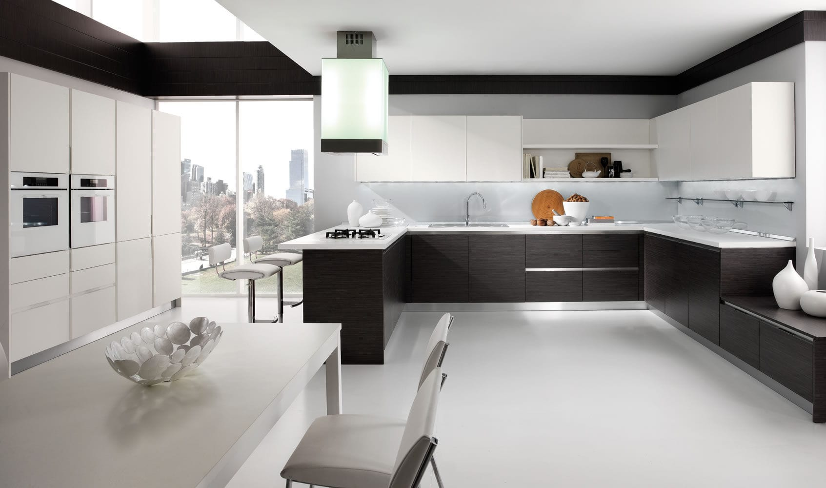 Contemporary kitchen / wood veneer / lacquered - SPAZIO ...