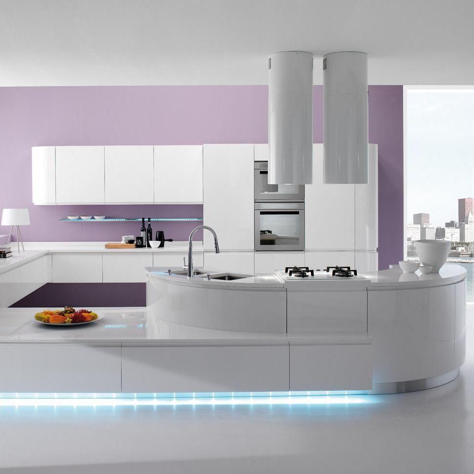 Contemporary kitchen / laminate / island / lacquered - SEVEN ...