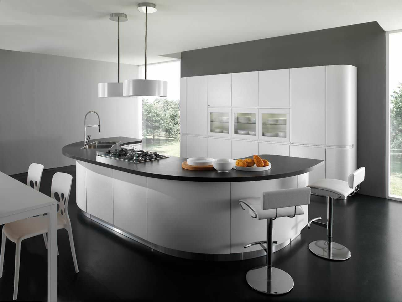 Contemporary kitchen / laminate / round / lacquered - SEVEN ...