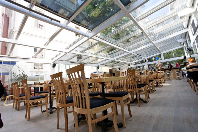 ... Metal Skylight / Retractable 11M INSULATED GLASS RETRACTABLE SKYLIGHT  Libart Enclosure Systems ...