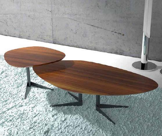 Contemporary Coffee Table Walnut Oval Seventy Wood