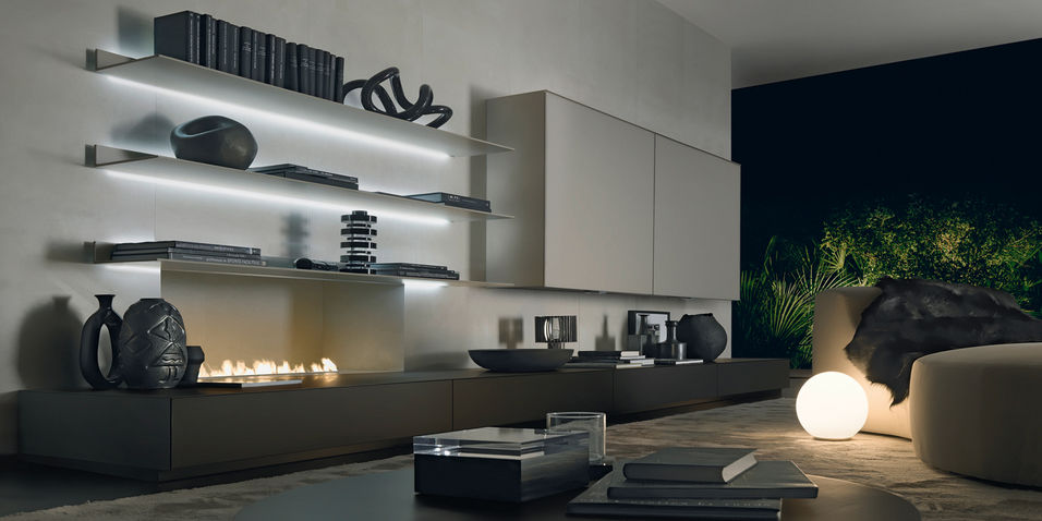 ... Contemporary Living Room Wall Unit / Glass ...