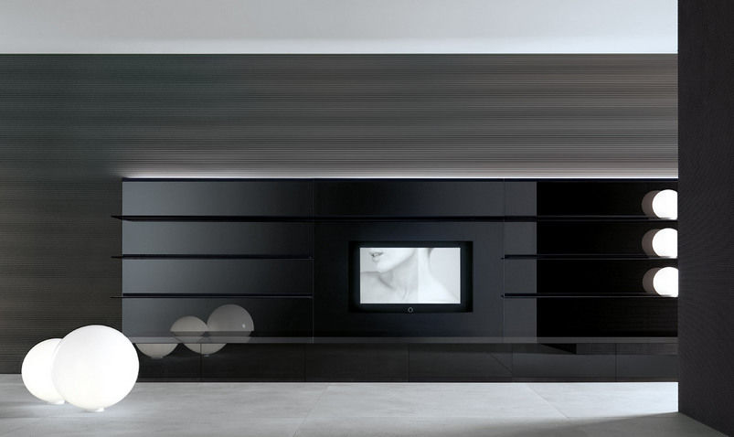 tv wall unit glass abacus by giuseppe bavuso rimadesio