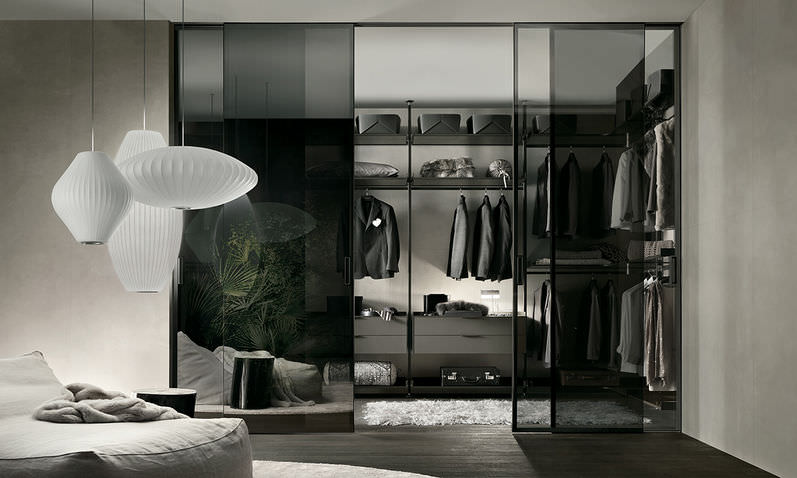 wallmounted walkin wardrobe glass aluminum zenith by giuseppe