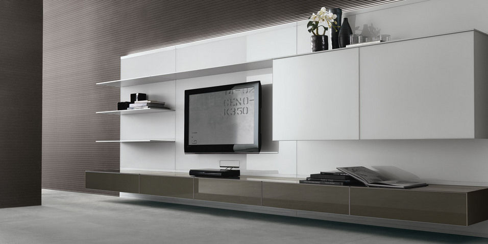 Contemporary TV wall unit / glass - ABACUS LIVING by Giuseppe Bavuso ...