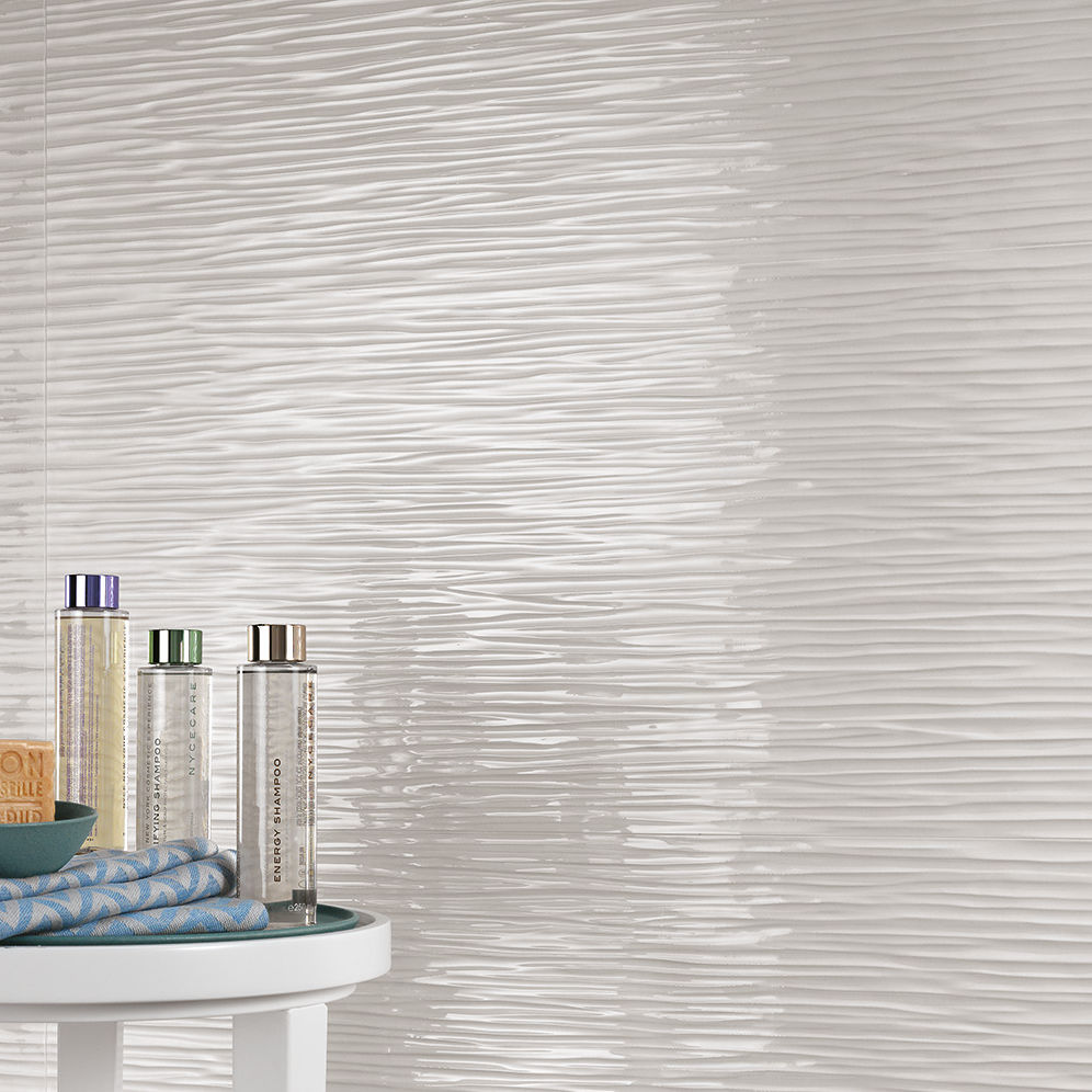 Indoor tile / wall / porcelain stoneware / wave pattern - 3D WALL ...