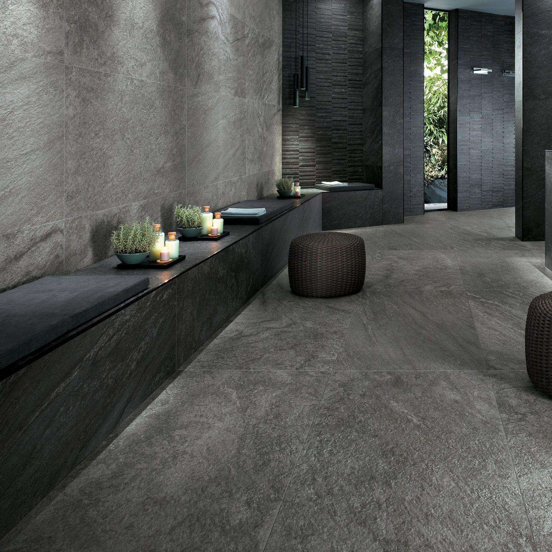 Indoor tile / for floors / porcelain stoneware / bush hammered ...