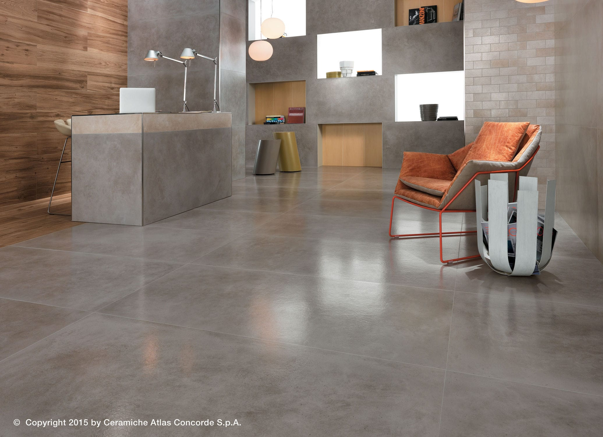 Indoor tile / for floors / porcelain stoneware / brushed - DWELL ...