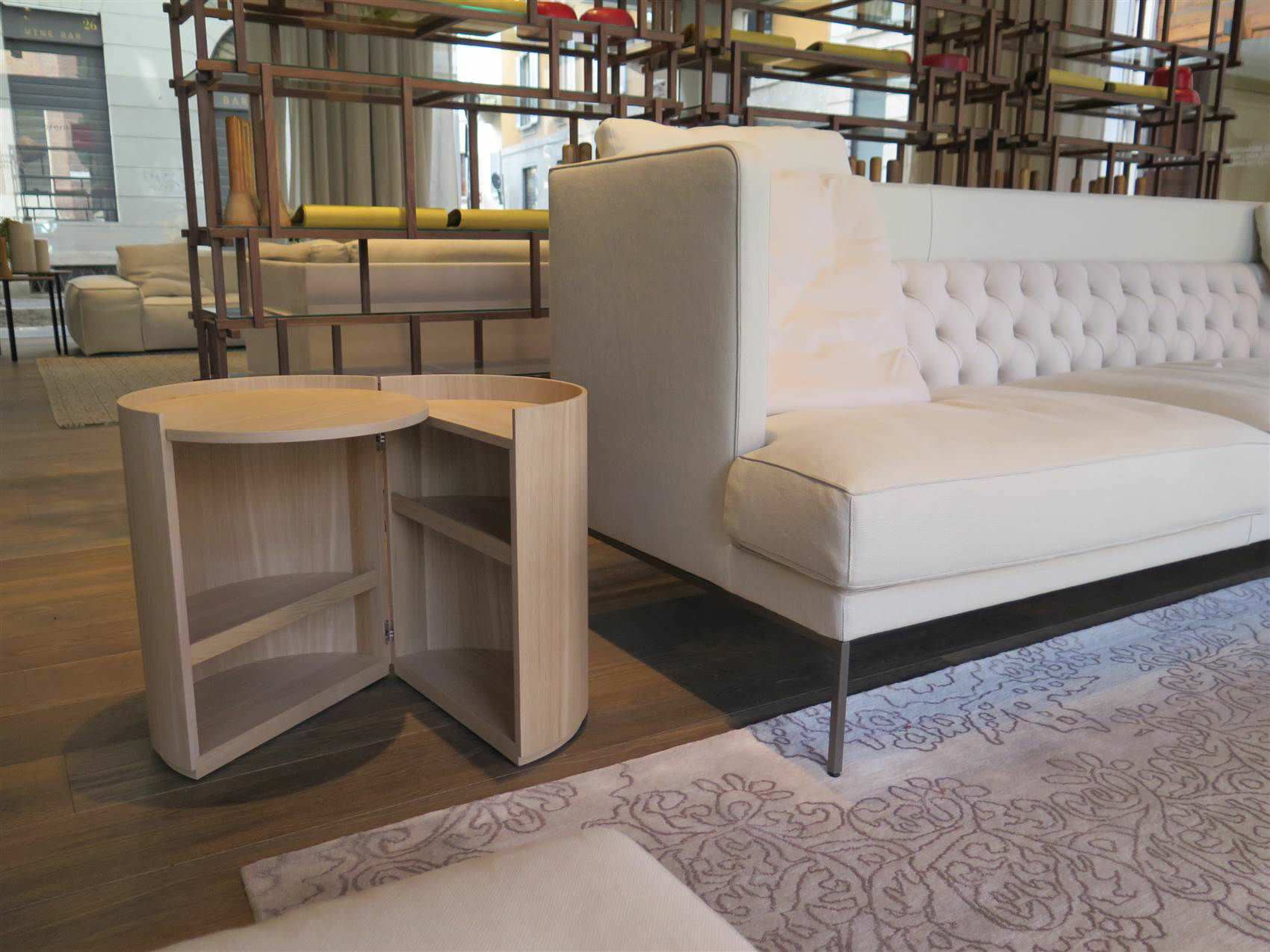 Contemporary side table / wooden / round / with storage compartment ...