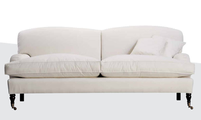 Traditional Sofa Fabric White Oxford