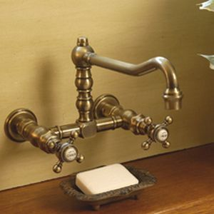 Double Handle Washbasin Mixer Tap Wall Mounted Chromed Metal