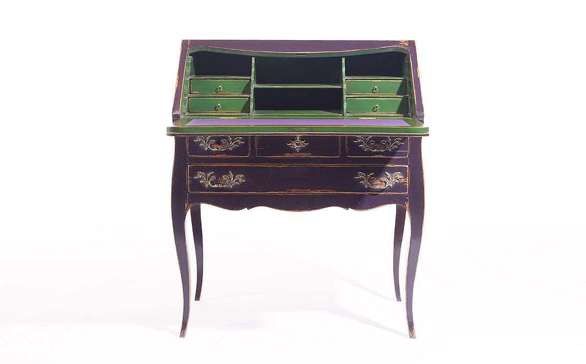 ... Louis XV Style Secretary Desk / Wooden / Leather / With Storage ...